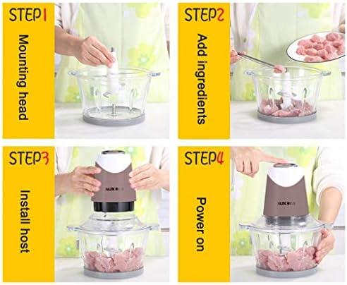 Shix xiang shop Hachoir électrique, Petit Robot culinaire for la Viande, Les légumes, Les Fruits et Les Noix, Unité Moteur en Acier Inoxydable et 4 Lames tranchantes, 300W
