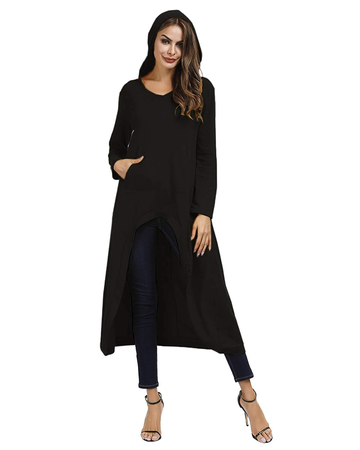 Jacansi Womens Comfy High Low Tops V-Neck 3//4 Sleeve Long Hi-Lo Maxi Tunic Tops