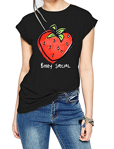 FV RELAY Women's Graphic Tee Tops Cute Strawberry Short Sleeve Casual Teen Girls T Shirts (S, ()