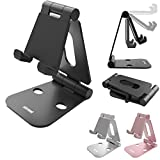 Skomet foldable aluminum phone and nintendo switch stand, holder, dock for iPhone, iPad, Samsung, tablet and all smartphone devices - with dual adjustable panels - Black