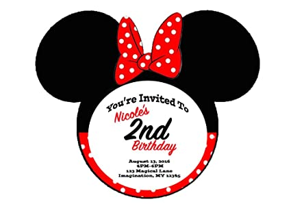 Amazon Com Minnie Mouse Themed Red Bow Invitations 6pk Toys Games