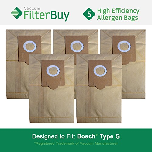 5 - Bosch Type G Vacuum Bags, Bosch part # 462544, BBZ51AFG1U & BBZ51AFG2U. Designed by FilterBuy to fit Bosch Compact, Formula, HealthGuard, Electro Duo & Plus Canister Vacuum Cleaners (Bosch Formula)