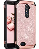 ZTE ZMax Pro Case, ZTE Carry Z981 Case, BENTOBEN Glitter Luxury 2 in 1 Ultra Slim Hard Laminated with Sparkly Faux Leather Chrome Shockproof Protective Case for Zte Zmax Pro Cases Z981, Rose Gold