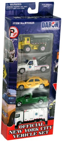 Taxi Diecast Car - Daron New York City Official Vehicle Set, 5-Piece