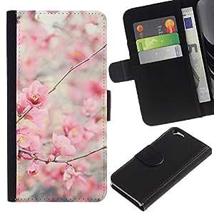 KingStore / Leather Etui en cuir / Apple Iphone 6 / Bloom flores de cerezo Manzano