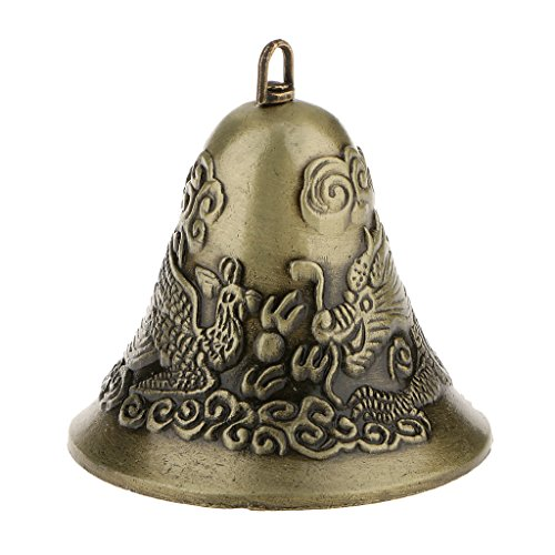Flameer Mini Feng Shui Chinese Metal Bell Charm Dragon And Phoenix Figure Decor