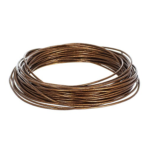 1.5mm Genuine Round Leather Cord Strips for Bracelets, Necklaces, Beading, and Other Jewelry Making - 10 Yards / 9.1 Meters - Brown