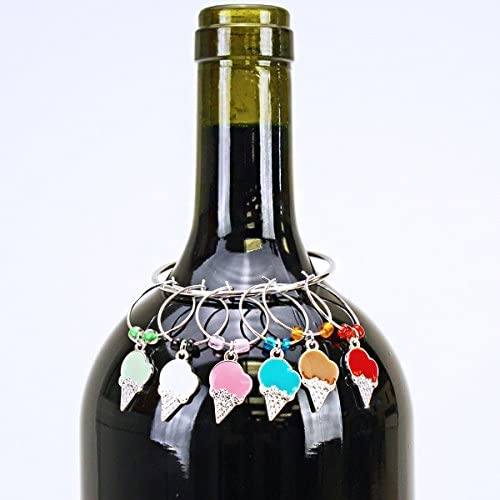 wine charm 010 20 2 ice cream cone Wine Charms ~ Wine Glass Marker ~ Ice Cream Cone Wine Charms Set of 6