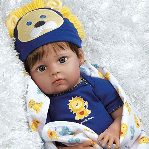 Paradise Galleries Reborn Baby Boy Doll 8-Piece Gift Set, Lions Tigers & Bears, 20 inch Lifelike Doll in GentleTouch Vinyl & Weighted Body, in 3 Different Outfits, for Kids 6+ from Paradise Galleries