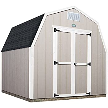 Ready Shed Easy Install Shed With All Materials, Primed Grey, 8 x 8, Wood Construction, Gambrel