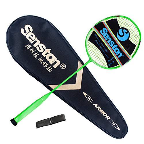 Senston N80-YT Jointless Badminton Racket Single High-Grade Badminton Racquet Carbon Fiber Badminton Racket Green with Racket Cover and Overgrip by Senston (Image #1)