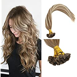"""Sunny 24"""" Pre Bonded Human Hair Extensions Balayage Brown Mixed with Blonde U Tip Hair Extensions 50G Fusion Keratin Extensions Remy Human Hair"""