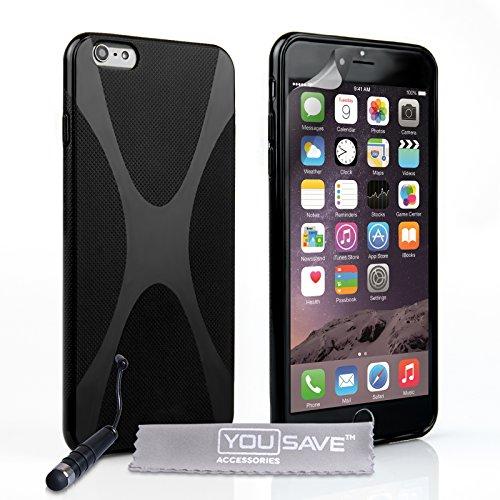 Yousave Accessories Coque iPhone 6 Plus Etui Noir Silicone Gel X-Ligne Housse Avec Mini Stylet