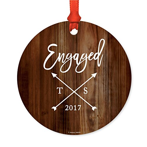 Andaz Press Personalized Bridal Shower Bachelorette Metal Christmas Ornament, Initials with Cross Arrows, Engaged 2018, Rustic Wood, 1-Pack, Custom Name, Includes Ribbon and Gift Bag (Christmas Ornament Arrow)