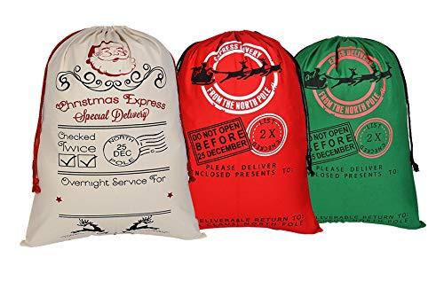 KEFAN 3 Pack Christmas Bag Santa Sack Canvas Bag for Gifts Santa Sack with Drawstrings Extra Large Size 27.5''x19.5'' (Pattern 6) by KEFAN