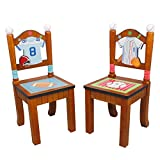 Fantasy Fields - Lil' Sports Fan Thematic Kids Wooden 2 Chairs Set  Imagination Inspiring Hand Crafted & Hand Painted Details   Non-Toxic, Lead Free Water-based Paint