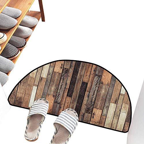 (Thin Door mat Wooden Brown Old Hardwood Floor Plank Grunge Lodge Garage Loft Natural Rural Graphic Artsy Print Non-Slip Backing W30 xL18 Brown)