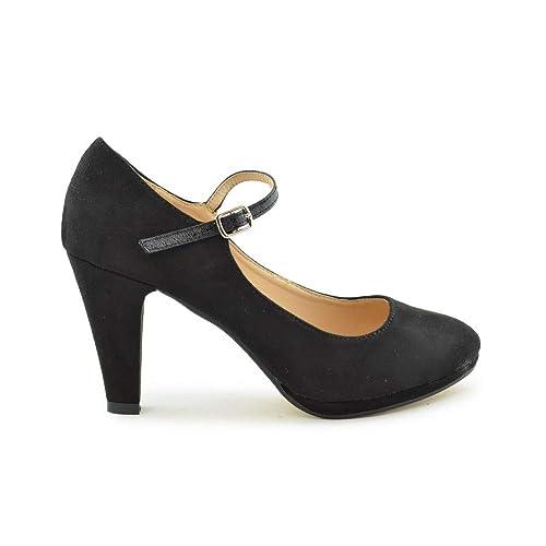 De Cómodo Y Muy Negro Tacón Zapato Amazon Zapatos Salón es Alto gqwUaA