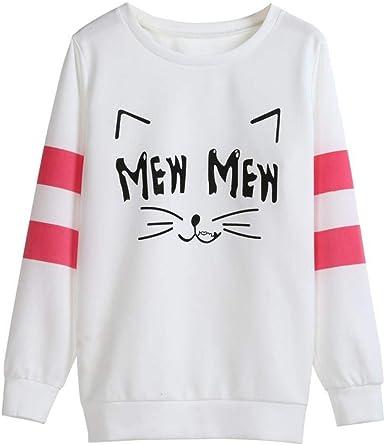 Sudaderas Mujer Casual Pullover Otoño Cute Gatos Impresión Sudadera Manga Larga Ropa Cuello Redondo Blusas Moda Termica Patchwork Camisas: Amazon.es: Ropa y accesorios