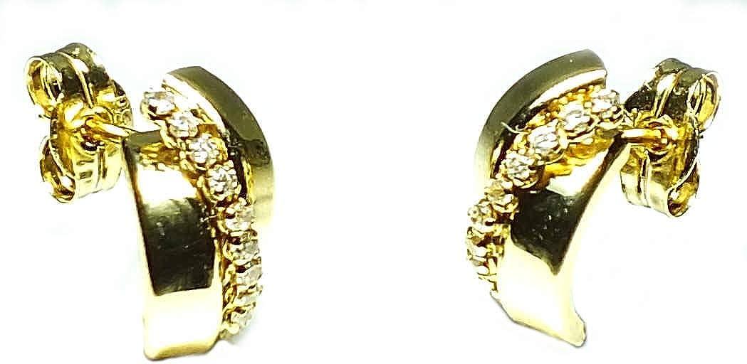 Pendientes oro 18k mujer, modelo bandas de oro y banda de piedras, con cierre de presión de alta calidad.