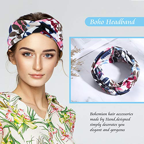 MAQUITA 4 Pack headbands for Women Boho Criss Cross Hair Bands Yoga Workout Button Headbands Tropical Flower Turban Headband Fashion Hair Accessories(2 style)