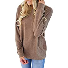 CadeVic Women's Casual Long Sleeve With Pocket Round Neck Sweatshirts Loose Blouses T Shirts Tops