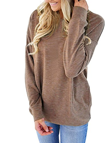 CadeVic Women's Casual Long Sleeve With Pocket Round Neck Sweatshirts Loose Blouses T Shirts Tops Brown XL