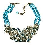 Heidi Daus Beaded 2-Row Crystal Bib Necklace ~Seashore Chic Aqua