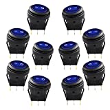 Lightronic 12V DC 20 Amp On/Off Rocker Switch IP65 Waterproof Auto Boat 3P SPST Rocker Toggle Switch (10Pcs, Blue)
