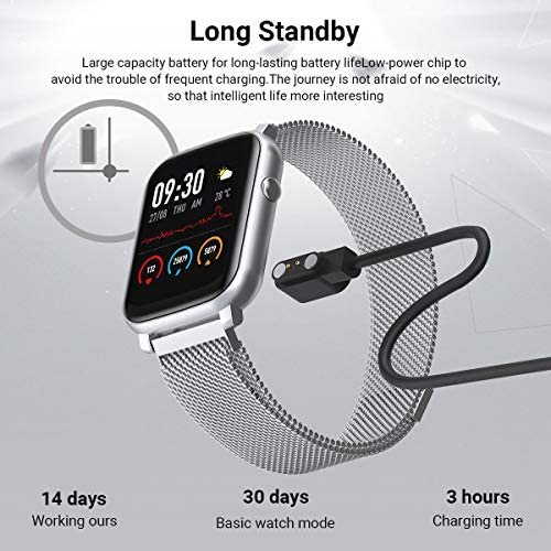 Anmino Smart Watch with Heart Rate Monitor BP Fitness Tracker IP68 Waterproof Activity Tracker Full Touch Screen Smartwatch Sleep Monitor Calorie Step Counter SMS Call Notification(Black Steel) 51bWpZ3rdwL
