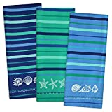 "DII Cotton Embroidered Blue Sea Dish Towels, 18 x 28"" Set of 3, Decorative Oversized Kitchen Towels for Everyday Cooking and Baking"