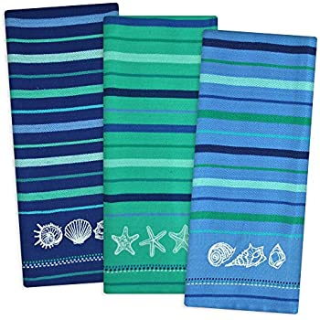 DII Cotton Embroidered Blue Sea Dish Towels, 18 x 28