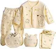 5PCS Newborn 0-3M Boys Girls Baby Cotton Clothes Tops Hat Pants Sleepwear Suit Outfit Sets OneSize