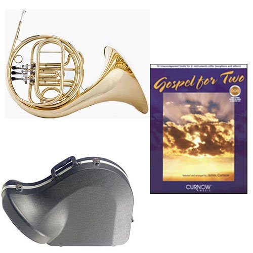 Band Directors Choice Single French Horn in F - Gospel For 2 Play Along Pack; Includes Student French Horn, Case, Accessories & Gospel For 2 Play Along Book by French Horn Packs