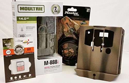 MOULTRIE M-888i Trail Camera-Security Box-MasterLock Python Cable-4GB SD Card