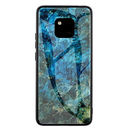 (DAMONDY Mate 20 Pro Case, Marble Glitter Shockproof Tempered Glass Mirror Back Cover Protective Anti-Scratch Anti-Drop Rubber Hybrid Skin Silicone Shell Slim Case for Huawei Mate 20 Pro-Green)