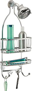 "iDesign York Metal Wire Hanging Shower Caddy, Extra Wide Space for Shampoo, Conditioner, and Soap with Hooks for Razors, Towels, and More, 10"" x 4"" x 22"", Silver"