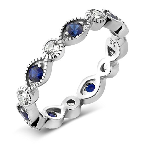 - Gem Stone King 925 Sterling Silver White and Blue Simulated Sapphire Eternity Ring 0.70 Ctw (Size 7)