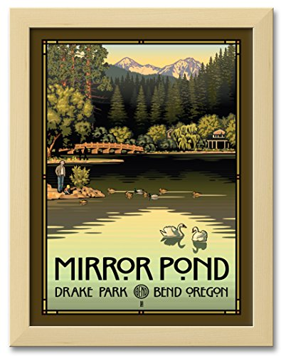 Northwest Art Mall Mirror Pond In Drake Park, Bend Oregon Professionally Framed Wall Decor by Paul Leighton. Print Size: 9