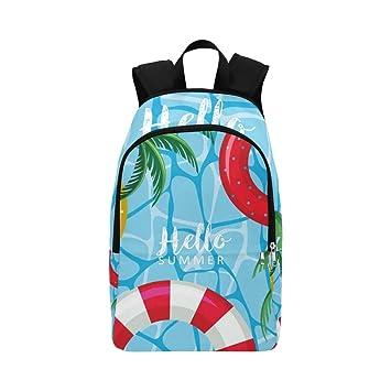 Hola, Cartel de Verano, flotadores en el Agua, Mochila de Viaje, Mochila Escolar, Mochila Escolar para Hombres y Mujeres: Amazon.es: Equipaje