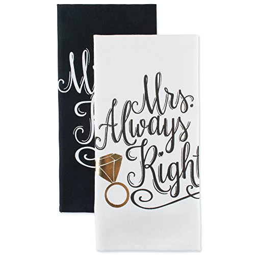 DII Cotton Mrs. Dish Towels (Set of 2) Perfect Wedding, Housewarming Gift, 18 x 28, Dishtowels, 2 Piece by DII
