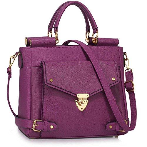 ANNA GRACE - Bolso cruzados de piel sintética para mujer Design 1 - Purple