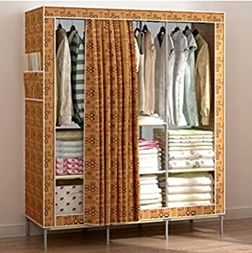 Generic New Portable Triple Oxford Cloth Wardrobe Closet Folding Clothing Storage Organizer Garment Armoire Rack