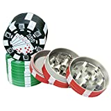 cool knight Poker Chip Herb Grinder With Pollen Catcher Color May Vary