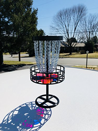 Miniature (Mini) Disc Golf Basket with 6 Discs Table top game, Trophy