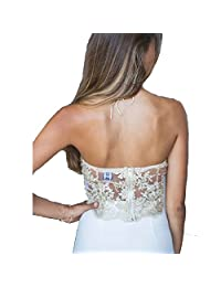 Women Summer Halter Floral Lace Embroidery Tank Top Camis Basic Camisole