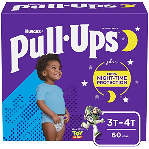 Pull-Ups Night-Time, 3T-4T (32-40 lb) Disposable Potty Training Pants for Toddler Boys, 60 Count