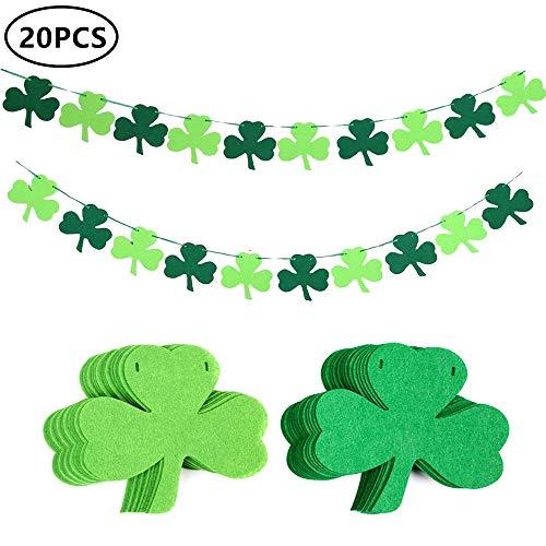 20Pcs Felt Shamrock Clover Garland Ribbon Banner - St. Patrick 's Day Banner Decor - St. Patrick 's Day Garland Decorations - Irish Party Supplies - Green and Light Green Color]()