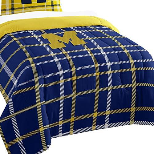 2pc NCAA Michigan Wolverines Twin Comforter and Sham Set Collegiate Plaid Logo ()