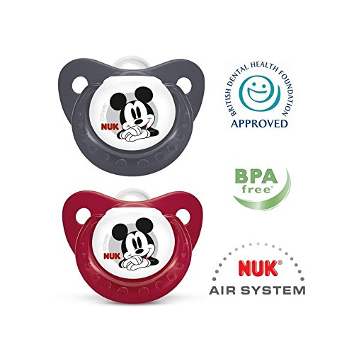 NUK Disney Mickey Mouse Silicone Soother (0-6 Months) 2 per pack - Pack of 6